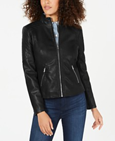 GUESS Front Zip Faux-Leather Jacket, Created for Macy's