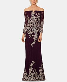 Petite Lace-Embroidered Gown