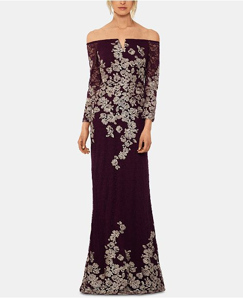 XSCAPE Petite Lace-Embroidered Gown