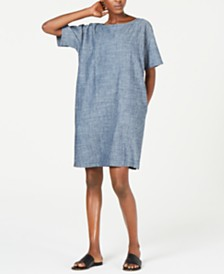 Eileen Fisher Bateau-Neck Shift Dress
