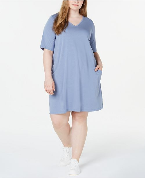 Eileen Fisher Plus Size Organic V-Neck Dress