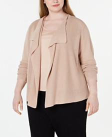 Eileen Fisher Plus Size Drape-Front Cardigan