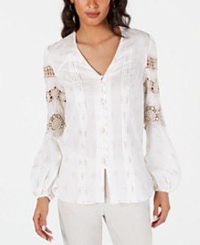 Elie Tahari Cotton Leigha Embroidered Blouse