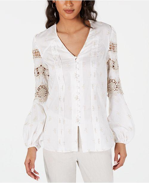 Elie Tahari Cotton Leigha Embroidered Blouse