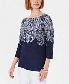 Petite Paisley Boat-Neck Top, Created for Macy's