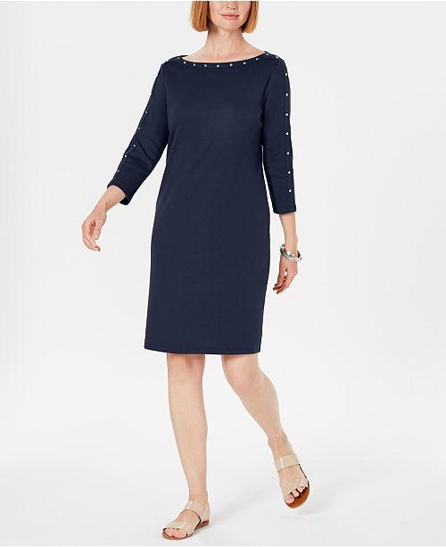 Karen Scott Sport Cotton Studded 3/4-Sleeve Shift Dress, Created for Macy's