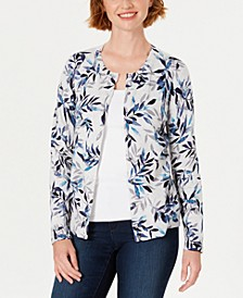 Leaf-Print Cardigan, Created For Macy's