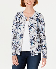 Karen Scott Leaf-Print Cardigan, Created For Macy's