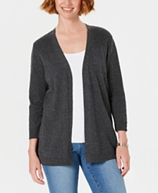 Karen Scott Ribbed-Yoke Cardigan Sweater, Created for Macy's