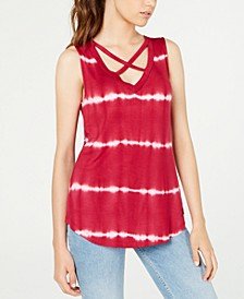 Juniors' Printed Crisscross Tank Top