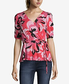 JohnPaulRichard Printed Wrap Top
