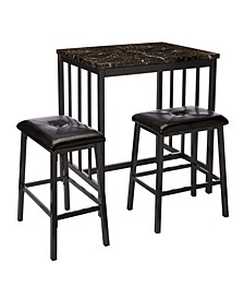 3 Piece Rubber Wood Counter Height Table Set