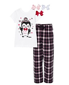 Little and Big Girls Interchangeable Bow 3D Penguin Graphic Pajama Set