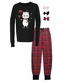 Little and Big Girls Interchangeable Bow 3D Llama Graphic Pajama Set