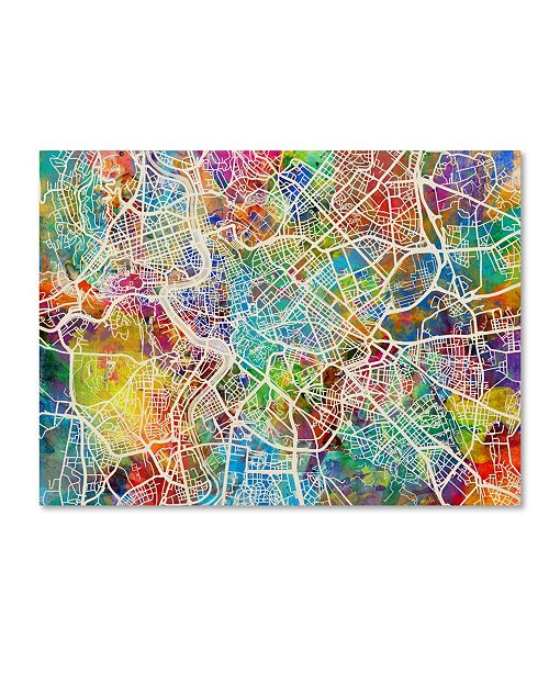 "Trademark Global Michael Tompsett 'Rome Italy Street Map II' Canvas Art - 14"" x 19"""