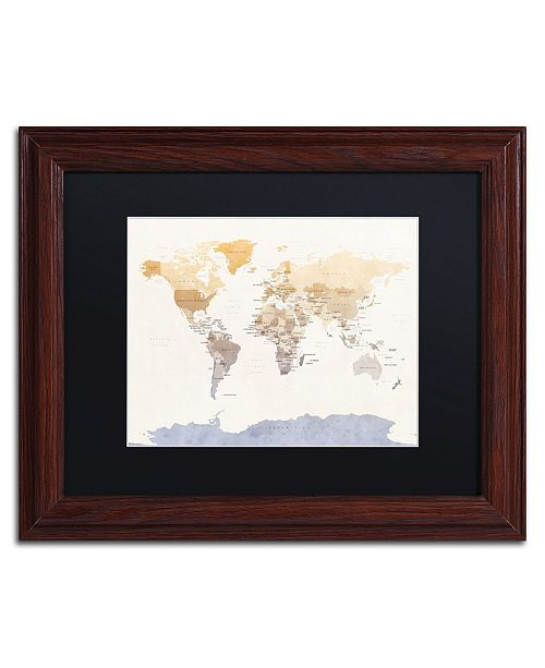 "Trademark Global Michael Tompsett 'Political Map of the World' Matted Framed Art - 11"" x 14"""