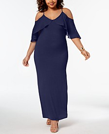 Plus Size Chiffon Cold-Shoulder Maxi Dress