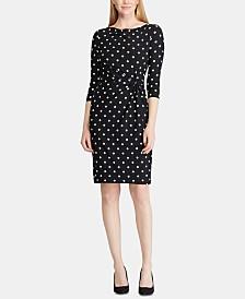 Lauren Ralph Lauren Petite Polka-Dot-Print Cowlneck Jersey Dress