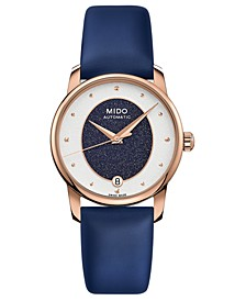 Women's Swiss Automatic Baroncelli Blue Fabric Strap Watch 33mm