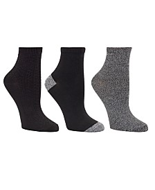 Cuddl Duds Women's 3pk Mid-Weight Ankle Cut Socks