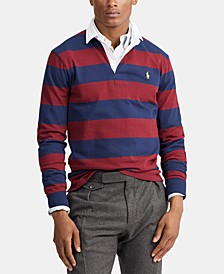 Men's Big & Tall Knit Rustic Striped Rugby Polo Shirt