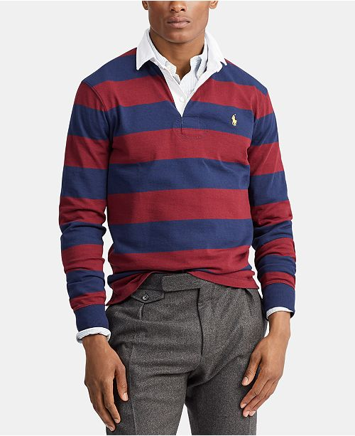 Polo Ralph Lauren Men's Big & Tall Knit Rustic Striped Rugby Polo Shirt