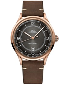 Mido Men's Swiss Automatic Multifort Patrimony Pulsometer Brown Leather Strap Watch 40mm