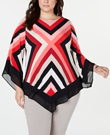 Alfani Plus Size Striped Pointed-Hem Top, Created for Macy's