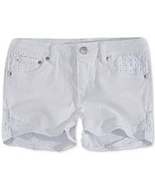 Toddler Girls Floral Embroidered Denim Shorts