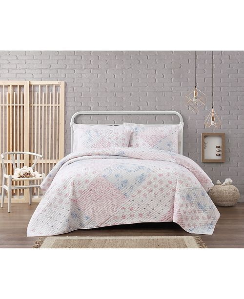 Brooklyn Loom Cottage Classics Hallie Floral Cotton 3 Piece Full/Queen Quilt Set