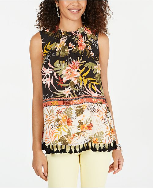 Style & Co Floral-Print Tassel-Trim Top, Created for Macy's