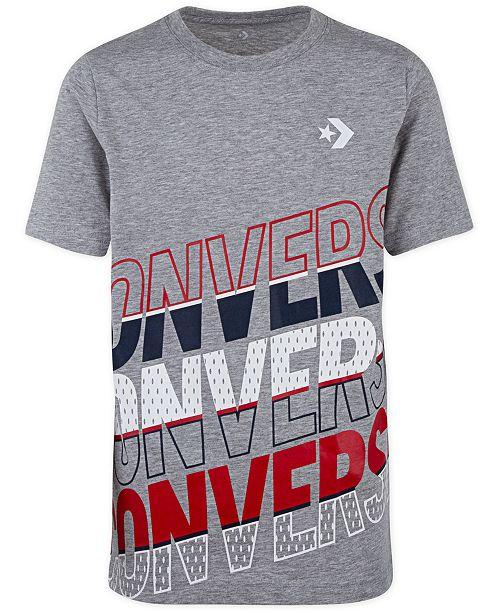 Converse Big Boys Repeat Diagonal Stripe Logo T-Shirt