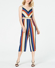 Juniors' Striped Gaucho Jumpsuit