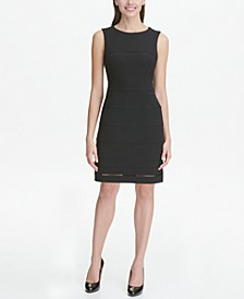 Petite Sleeveless Trimmed Sheath Dress