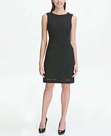 Tommy Hilfiger Petite Sleeveless Trimmed Sheath Dress