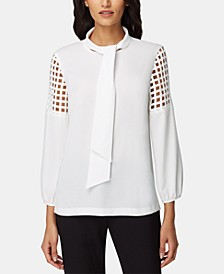 Petite Tie-Neck Lasercut Top
