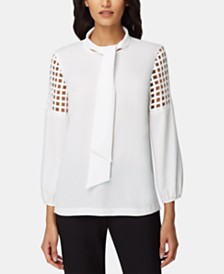 Tahari ASL Lattice-Accent Tie-Neck Top