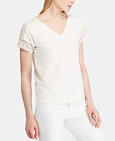 Lauren Ralph Lauren Lace-Trim Short-Sleeve Top