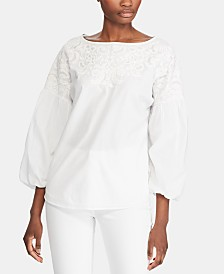 Lauren Ralph Lauren Embroidered Puff-Sleeve Cotton Top