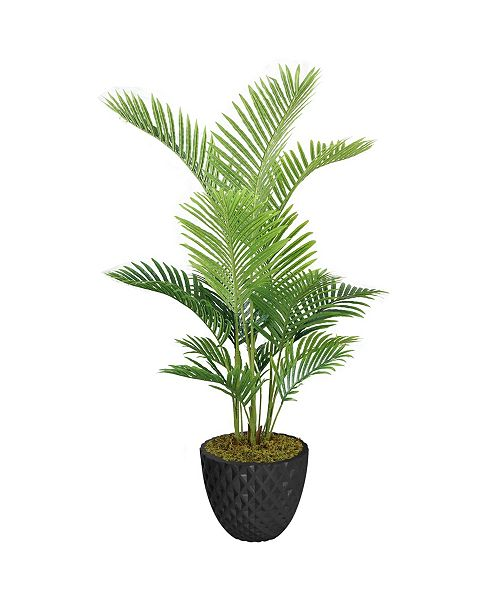 """Laura Ashley 61.6"""" Real Touch Palm Tree in Fiberstone Planter"""