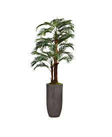 "Laura Ashley 80.25"" Palm Tree Faux decor with Burlap Kit in Resin Planter"