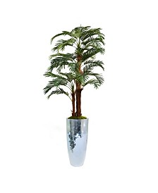 "Laura Ashley 87.5"" Palm Tree Faux decor with Burlap Kit in Resin Planter"