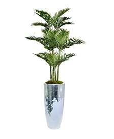 "Laura Ashley 81.5"" Palm Tree Faux decor with Burlap Kit in Resin Planter"