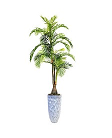 """Laura Ashley 105.5"""" Tall Palm Tree Artificial Indoor/ Outdoor Faux decor in Resin Planter"""