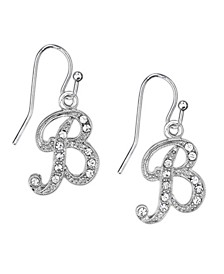Silver Tone Crystal Initial Wire Earring