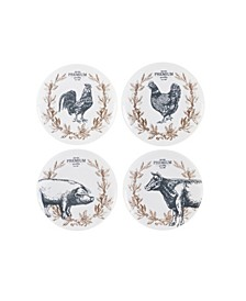 Fitz & Floyd  Farmstead Home Appetizer Plates, Set of 4