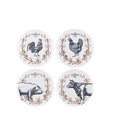 Fitz & Floyd  Farmstead Home Appetizer Plates, Set of 4