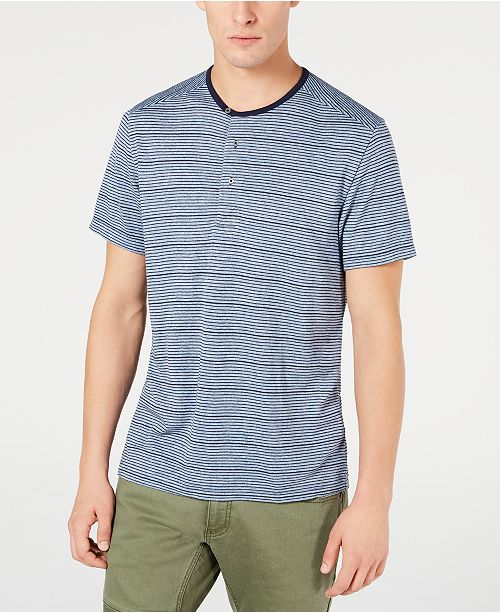INC International Concepts INC Men's Striped Henley, Created for Macy's