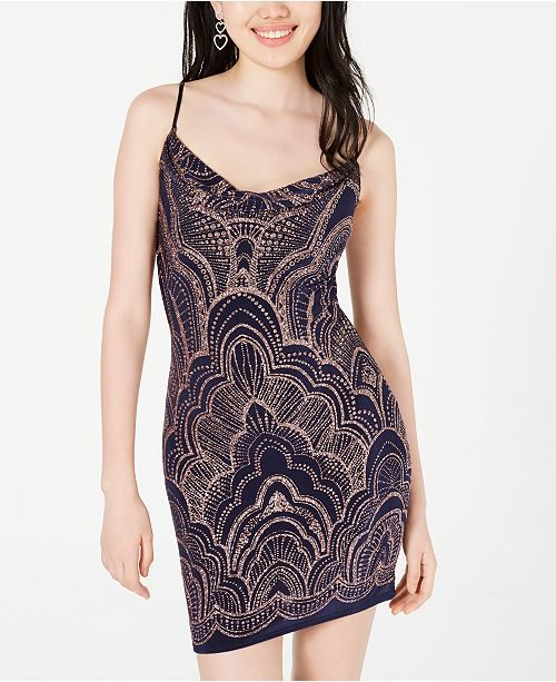 3eed183e9ec Juniors' Glitter-Print Bodycon Dress