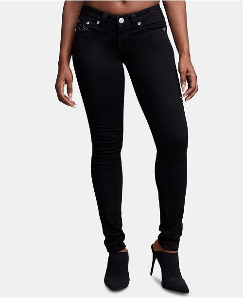 True Religion Stella Black Low-Rise Skinny Jeans